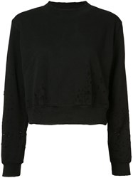 Cotton Citizen Distressed Cropped Sweater Women S Black