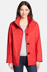Petite Women's Ellen Tracy Cotton Blend Stand Collar A Line Jacket Red