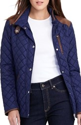 Lauren Ralph Lauren Women's Faux Leather Trim Quilted Jacket Capri Navy