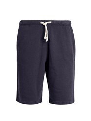 American Vintage Wide Leg Cotton Shorts Navy