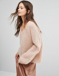 Gestuz V Neck Jumper In Mohair Wool Mix Pink