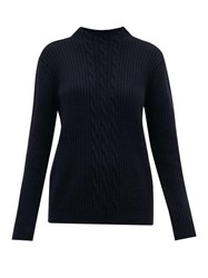A.P.C. Nico Cable Knit Wool Blend Sweater Navy