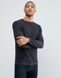 Selected Homme Crew Neck Knit In Twisted Yarn Blue Nights Navy