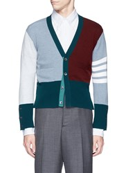 Thom Browne Colourblock Stripe Cashmere Cropped Cardigan Multi Colour