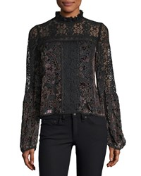 Nanette Lepore Obsession High Neck Long Sleeve Lace Top Black Multi