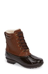 Michael Michael Kors Women's Easton Lace Up Faux Shearling Lined Duck Boot Dark Caramel Leather