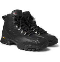 Roa Andreas Rubber Trimmed Distressed Nubuck Hiking Boots Black