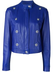 Versus Lion Stud Embellished Jacket Blue