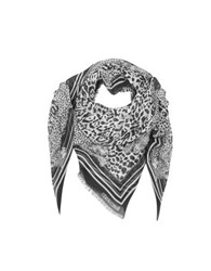 Roberto Cavalli Black And White Animal Print Cotton Blend Shawl Black White