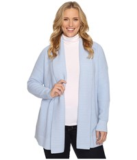 Michael Michael Kors Plus Size Long Waffle Cardigan Pale Ocean Women's Sweater Navy