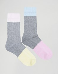 Asos Sports Style Socks With Twisted Yarn Panels 2 Pack Multi
