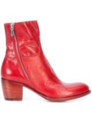 Rocco P. Mid Heel Ankle Boots Leather Red
