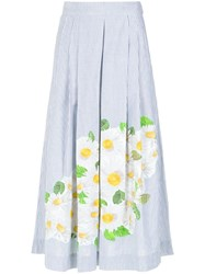 Isolda Daisy Print Embroidered Skirt Blue