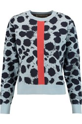 Etre Cecile Cheetah Print Intarsia Knit Sweater Sky Blue