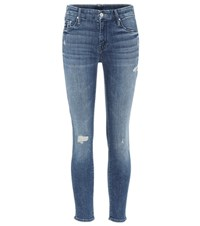 Mother The Looker Cropped Jeans Blue