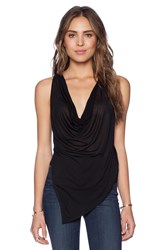 Haute Hippie Cropped Cowl Neck Tank Black