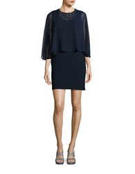 Betsy And Adam Embellished Cape Dress Navy