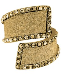 Guess Gold Tone Crystal And Glitter Bypass Ring