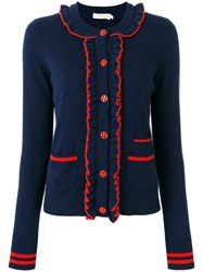 Tory Burch Ruffled Cardigan Blue