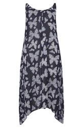 Evans Plus Size Women's Butterfly Print Handkerchief Hem Maxi Dress Navy