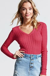 Forever 21 Cable Knit V Neck Sweater Fuchsia