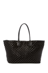 Cole Haan Lena Woven Leather Tote Black