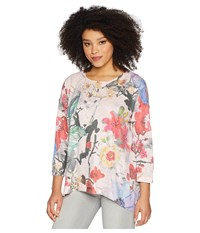Nally And Millie Pink Handpainted Floral Top Multi Clothing
