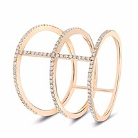 Cosanuova Three Band Diamond Ring 18K Rose Gold