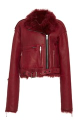 R 13 R13 Sac Oversized Shearling Motorcycle Jacket Red