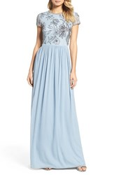 Adrianna Papell Women's Cap Sleeve Embroidered Bodice Gown