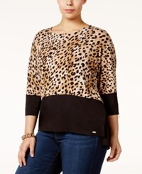 Calvin Klein Plus Size Printed Dolman Sleeve Top Black Neutral