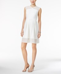 Sandra Darren Petite Illusion Stripe Fit And Flare Dress Ivory