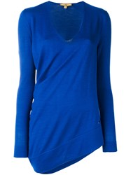Fay Long Sleeved Knitted Top Women Silk Wool S Blue