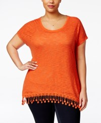 Eyeshadow Plus Size Burnout Fringe Tunic Top