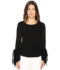 See By Chloe Crepe Long Sleeve Lace Blouse Black Women's Blouse