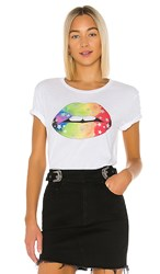 Chaser Rainbow Star Lips Tee In White.