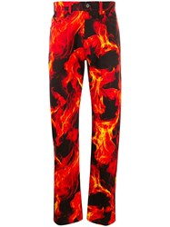 Msgm Flame Print Jeans Red