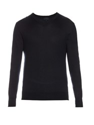 Lanvin V Neck Cashmere Sweater Blue