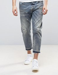 Selected Homme Jeans In Slim Cropped Fit With Distressing Blue