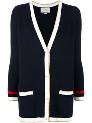 Gucci Embroidered Oversize Knit Cardigan Women Cotton Polyamide Spandex Elastane M Blue