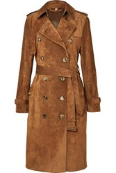 Burberry The Haddington Double Breasted Suede Trench Coat Brown