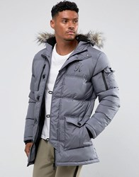 Gym King Puffer Parka In Gray With Faux Fur Hood Gray