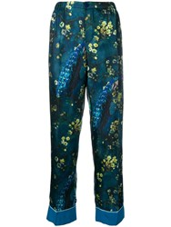 F.R.S For Restless Sleepers Satin Flower Trousers Blue