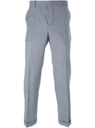Carven Checked Front Pleat Trousers White