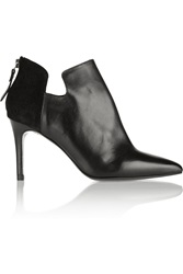 Sandro Amara Leather And Suede Ankle Boots Black