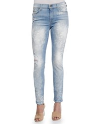 7 For All Mankind The Skinny Bleached And Destroyed Denim Jeans Light Sky