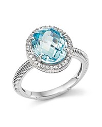 Judith Ripka Oval Pave Ring With White Sapphire And Sky Blue Crystal Blue Silver