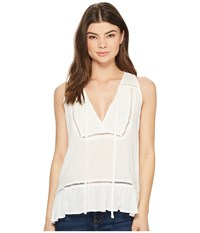 Miss Me Embroidered Trim Sleeveless Top Off White Clothing