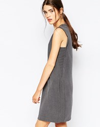 See U Soon Shift Dress With Ribbed Side Detail Grey
