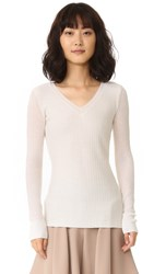 Maiyet Long Sleeve V Neck Sweater Ivory